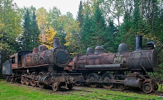 Lacroix locomotives. Allagash Wilderness Waterway, Maine, USA